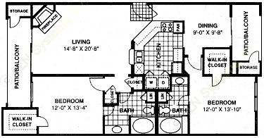 1,263 sq. ft. B2 floor plan