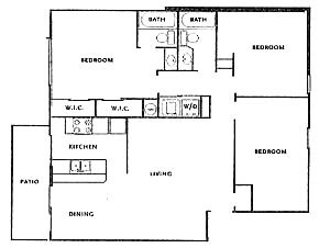 1,056 sq. ft. DUPLEX floor plan