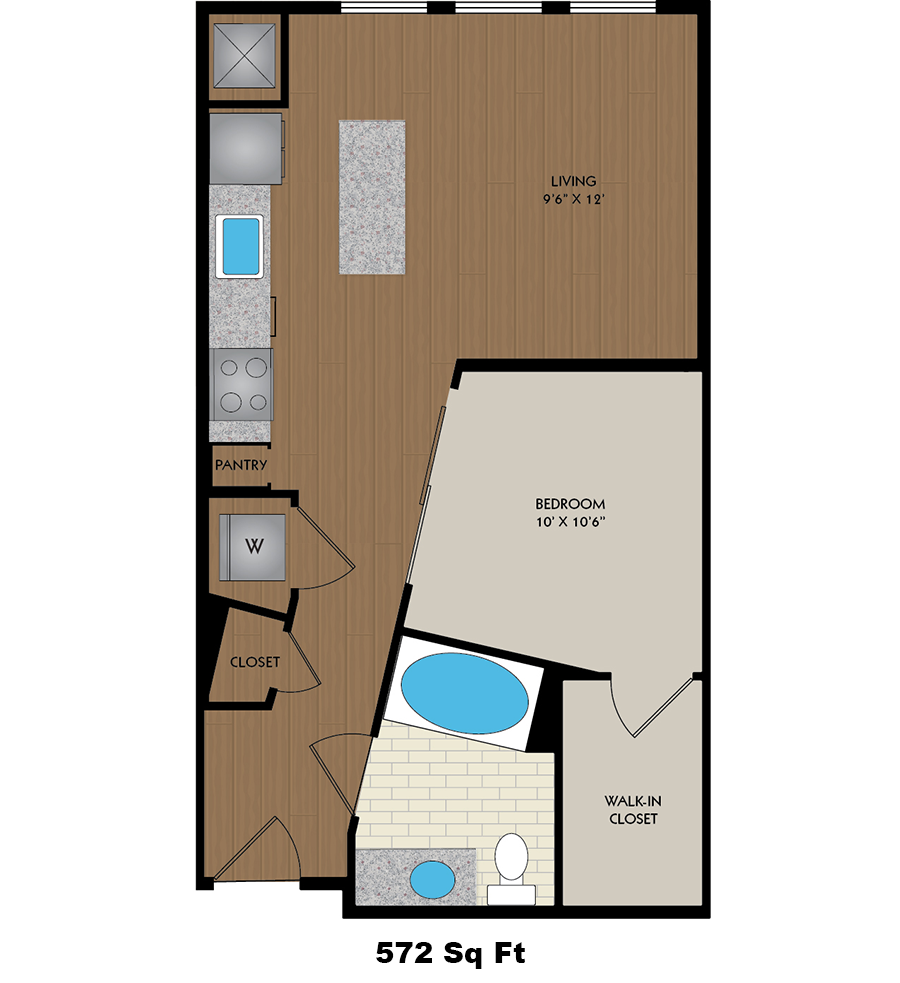 572 sq. ft. Curie floor plan