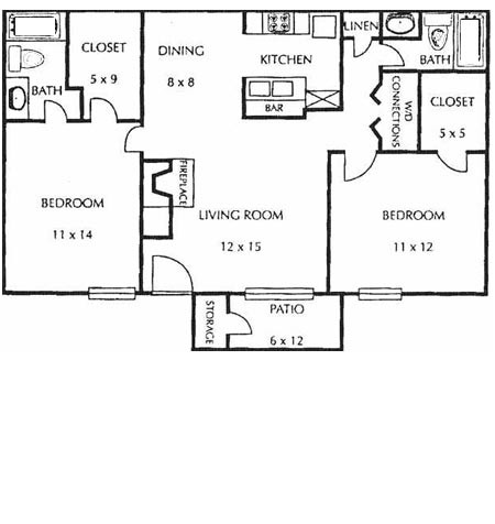 952 sq. ft. E floor plan