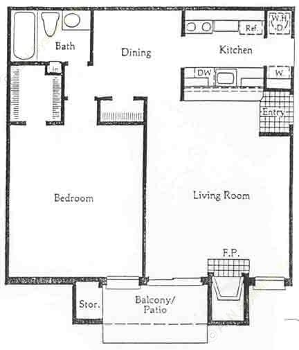 751 sq. ft. A1/A2 floor plan