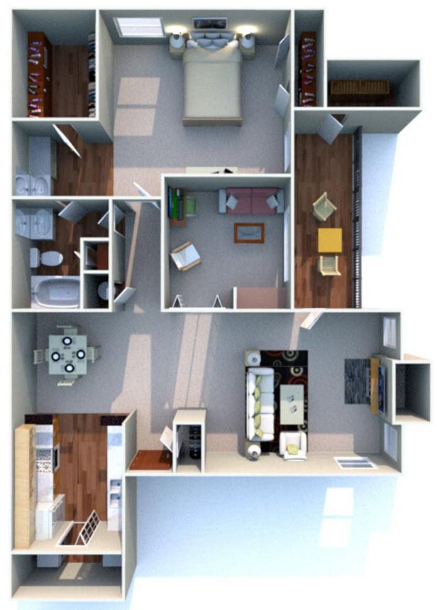 1,000 sq. ft. D floor plan