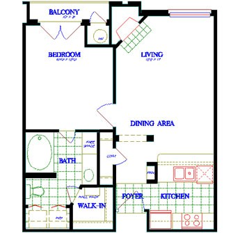 615 sq. ft. A1 floor plan