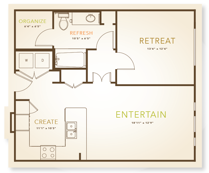 752 sq. ft. to 802 sq. ft. A3 floor plan