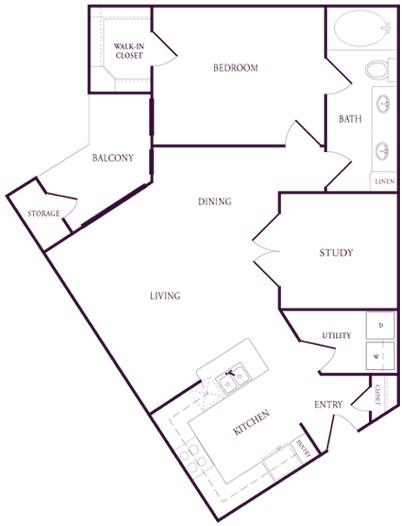 900 sq. ft. A-A5 floor plan