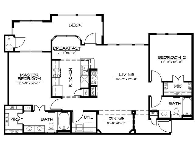 1,226 sq. ft. B2CR floor plan