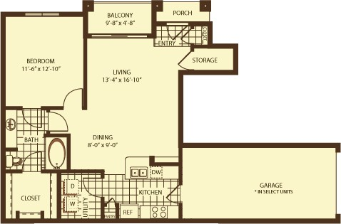 770 sq. ft. Thames floor plan