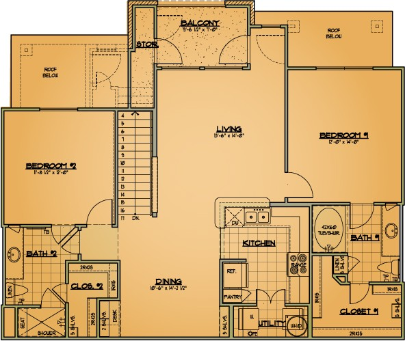 1,210 sq. ft. B2 floor plan