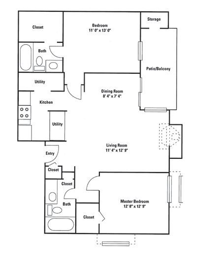 964 sq. ft. C1 floor plan