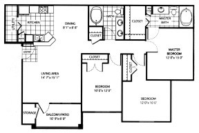 1,208 sq. ft. C floor plan