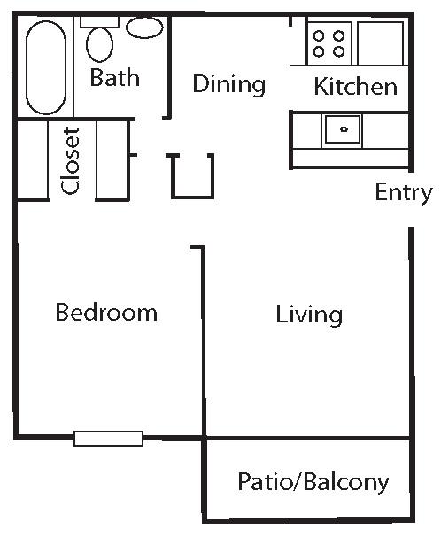 558 sq. ft. A3 floor plan