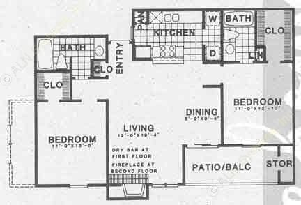 972 sq. ft. B2B floor plan