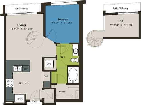 744 sq. ft. A8C floor plan