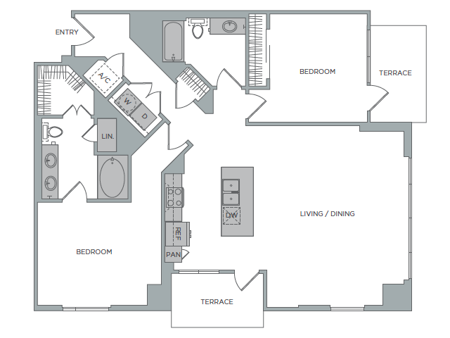 1,530 sq. ft. 2I floor plan
