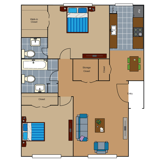 847 sq. ft. AB4 floor plan