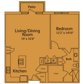 954 sq. ft. KA floor plan