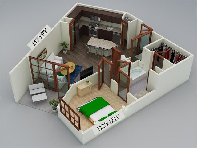 732 sq. ft. A5 floor plan
