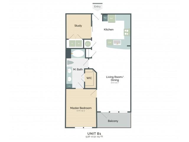 938 sq. ft. B1 floor plan