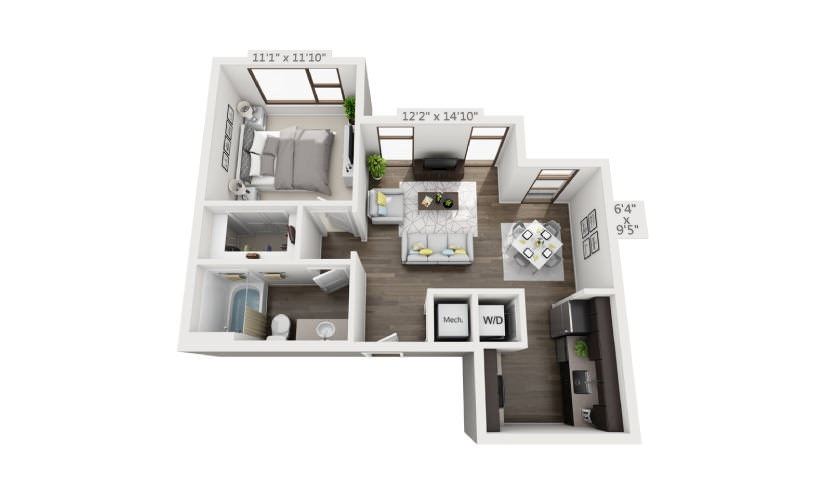 656 sq. ft. S2 floor plan