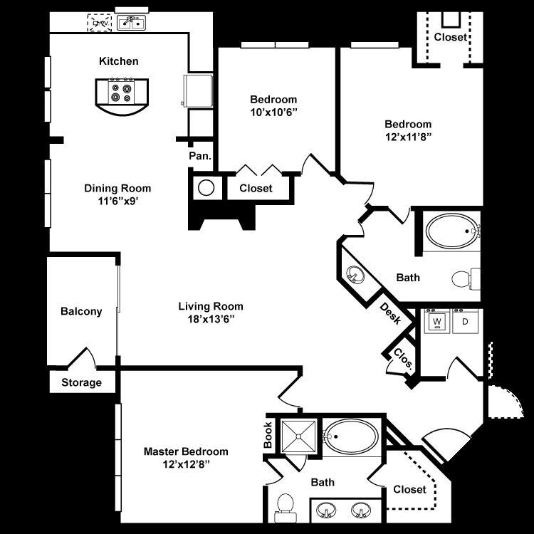 1,390 sq. ft. H1 floor plan