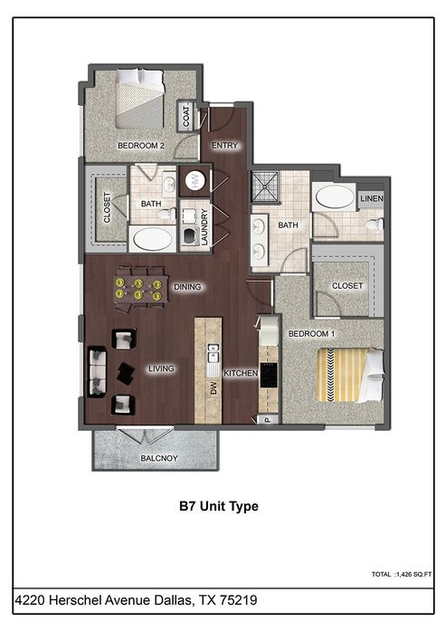 1,325 sq. ft. B7 floor plan