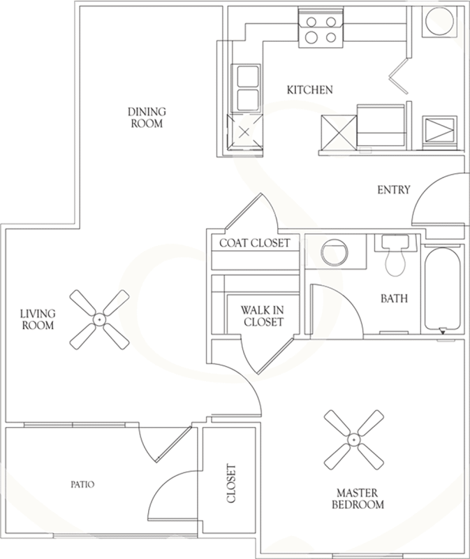 684 sq. ft. A2 60% floor plan