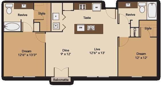 1,078 sq. ft. PLAZA B1 floor plan