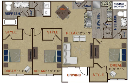 1,379 sq. ft. C4 floor plan
