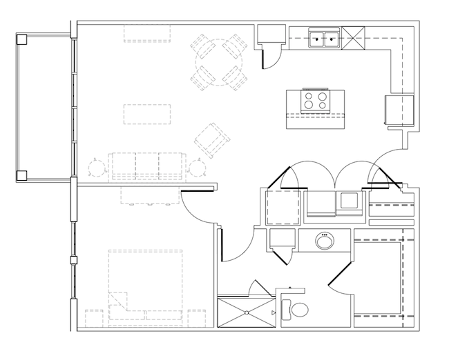 806 sq. ft. Harvey floor plan