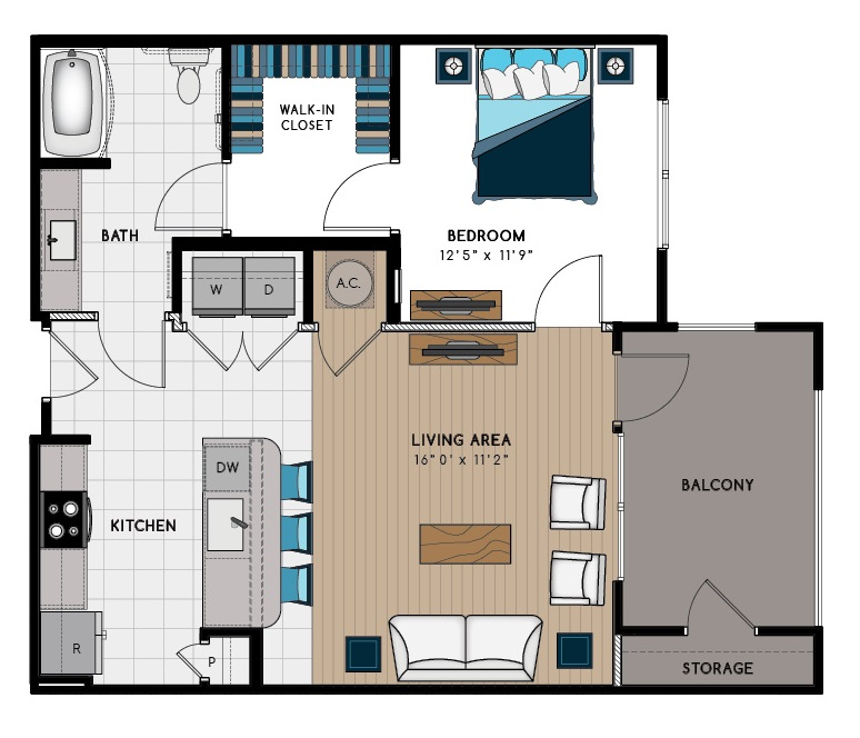 806 sq. ft. 1C-HC floor plan