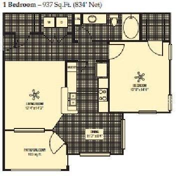 834 sq. ft. floor plan