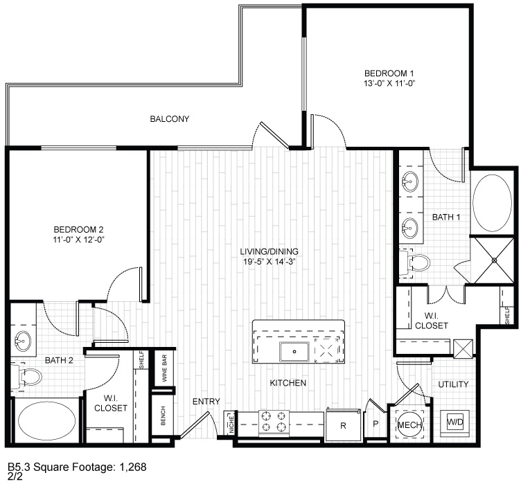1,268 sq. ft. B5.3 floor plan