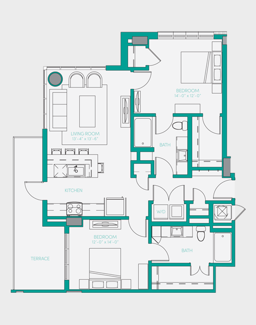 1,102 sq. ft. B1.1 floor plan