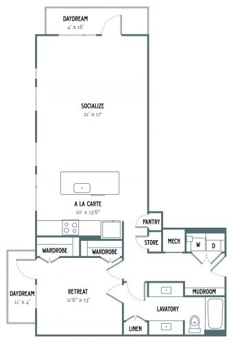1,053 sq. ft. A7 floor plan