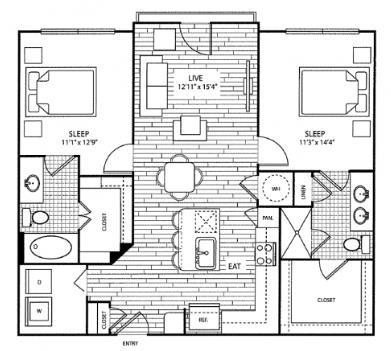 1,129 sq. ft. B1 floor plan