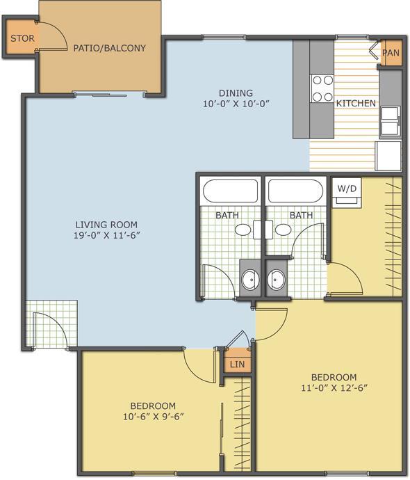 905 sq. ft. Sandlewood floor plan