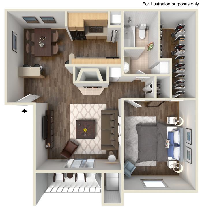 733 sq. ft. C floor plan