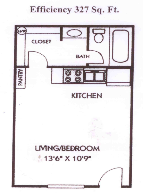 327 sq. ft. B1/B1U floor plan