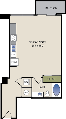 620 sq. ft. C1 floor plan