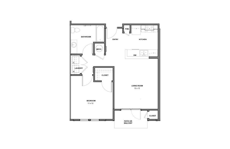 720 sq. ft. 30% floor plan