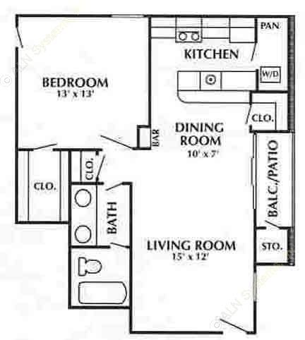 800 sq. ft. F floor plan