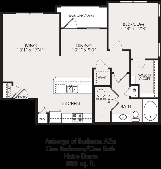 888 sq. ft. floor plan