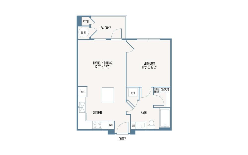 613 sq. ft. S2 floor plan