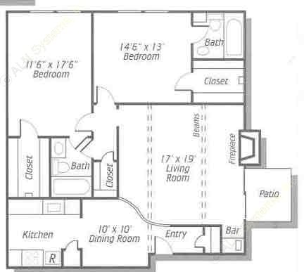 1,196 sq. ft. B3 floor plan