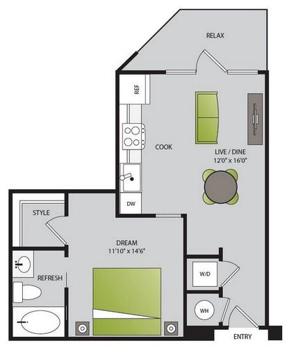 575 sq. ft. S2.2 floor plan