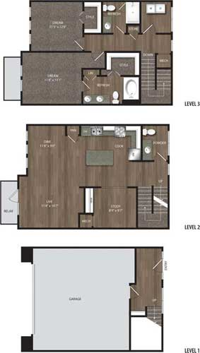 1,582 sq. ft. TH1 floor plan