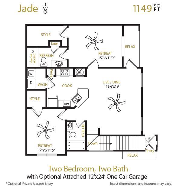 1,149 sq. ft. Jade 2 floor plan