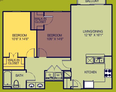 886 sq. ft. 2/1 floor plan