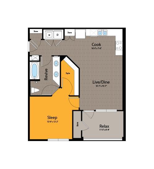 745 sq. ft. A3 floor plan
