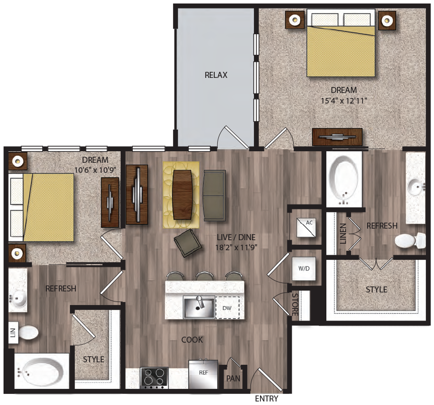 1,032 sq. ft. B4.1 floor plan